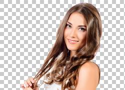 发型化妆品美容,漂亮的模特,微笑的女人穿着粉红色唇膏PNG剪贴画图片