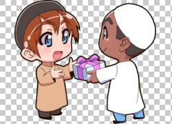 古兰经伊斯兰教穆斯林人类行为阿拉,圣训,两个男孩抱着礼物插图PN图片