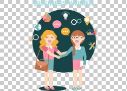 动画片握手买卖人,企业握手动画片女孩PNG clipart商业女性,孩子,图片