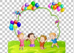 儿童气球,孩子和气球,四个孩子跳PNG剪贴画框架,人,孩子,幼儿,草,图片