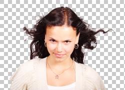 长长的头发黑头发洗头发,美丽迷人的年轻休闲女人PNG剪贴画脸,人,图片