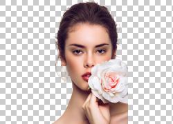 睫毛扩展脱毛化妆品烫发,欧美美女模特,女人抱着白色和粉红色的玫图片