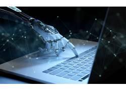 机器人电脑蓝色科技