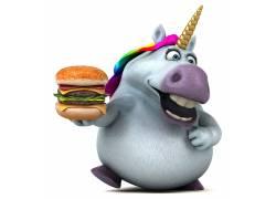 拿着汉堡的海马高清图片