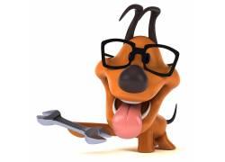 拿着工具的小狗高清图片