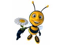 拿菊花的小蜜蜂高清图片
