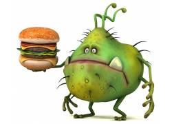 卡通土豆和汉堡高清图片