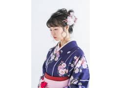 盘发淡妆美丽日本女子摄影图片
