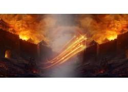 金色火焰城楼二次元梦幻仙境