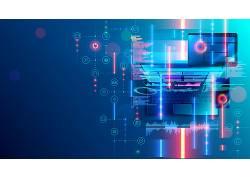 笔记本电脑蓝色网络科技