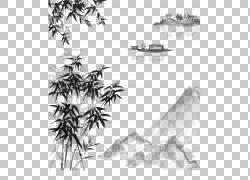 水竹子水墨墨山水设计素材