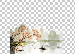 水墨树枝设计素材图片