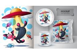 手绘卡通外星猫咪图案可制作抱枕杯子盘子VI设计