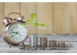 闹钟硬币堆积小植物㓜木