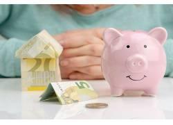 存钱罐粉色小猪前硬币纸币