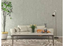 沙发木地板花卉 落地灯室内设计效果图
