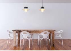 室内设计吊灯桌子椅子 木地板效果图