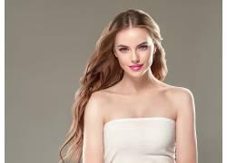 长头发染发金色头发画眉脸人化妆品素材