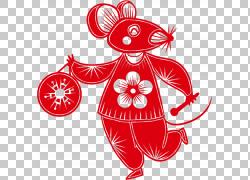 鼠年新年剪纸老鼠png免抠素材图片