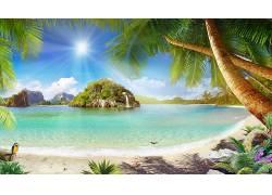 海洋沙漠白云树木耶稣