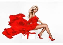 商務美女穿紅衣服霸氣