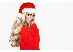 戴圣诞帽大美女