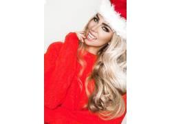 圣诞穿红色衣服大美女