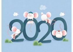 2020可爱小白鼠唯美鼠年元素素材 (3)
