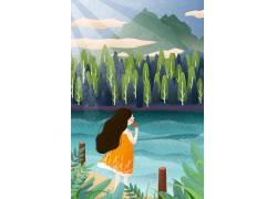 河边闻花女孩插画PSD图片
