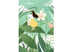 长发女孩夏季插画PSD图片