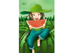 夏天欢乐卡通插画图片