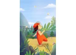 春天捕蜻蜓插画图片