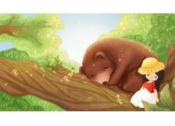 趴在树上的熊插画PSD图片
