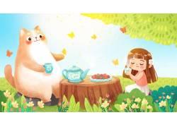 夏季喝下午茶插画PSD图片