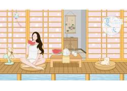 夏季吃西瓜的美女插画PSD图片