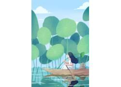 池塘划船的女孩插画PSD图片