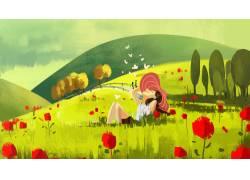 夏季躺在草坪的女孩插画PSD图片