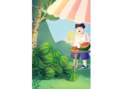 夏季卖西瓜男孩插画PSD图片