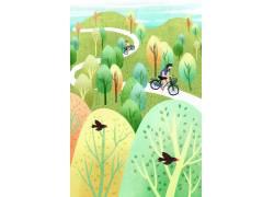 漫步时光骑自行车插画PSD图片