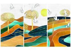 抽象树木三联画