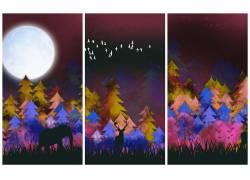 抽象森林三联画