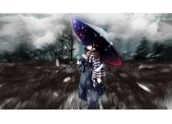 动漫,雪,树木,雨伞,羽毛,草,动漫女孩,蓝头发,蓝眼睛,Cartagra,Kz图片