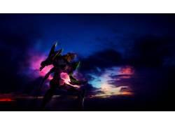 动漫,新世纪福音战士,EVA单元01,云,天空,动漫35518图片