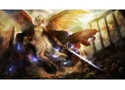 动漫,天使,艺术品,幻想女孩,幻想艺术,剑,动漫女孩37396图片