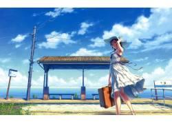 动漫,天空,蓝色,单独,动漫女孩,白色礼服,动画,原始人物,软阴影,图片
