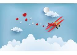 情人节爱心飞机海报图片