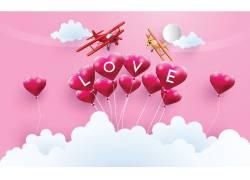 情人节粉色气球海报图片