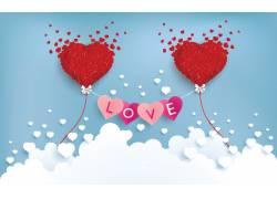 蓝色矢量情人节海报图片