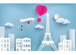 巴黎情人节海报图片
