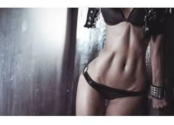 ABS,女性,女人,美女,比基尼泳装,枯瘦,闪光,Ura Pechen,人物,黑色
